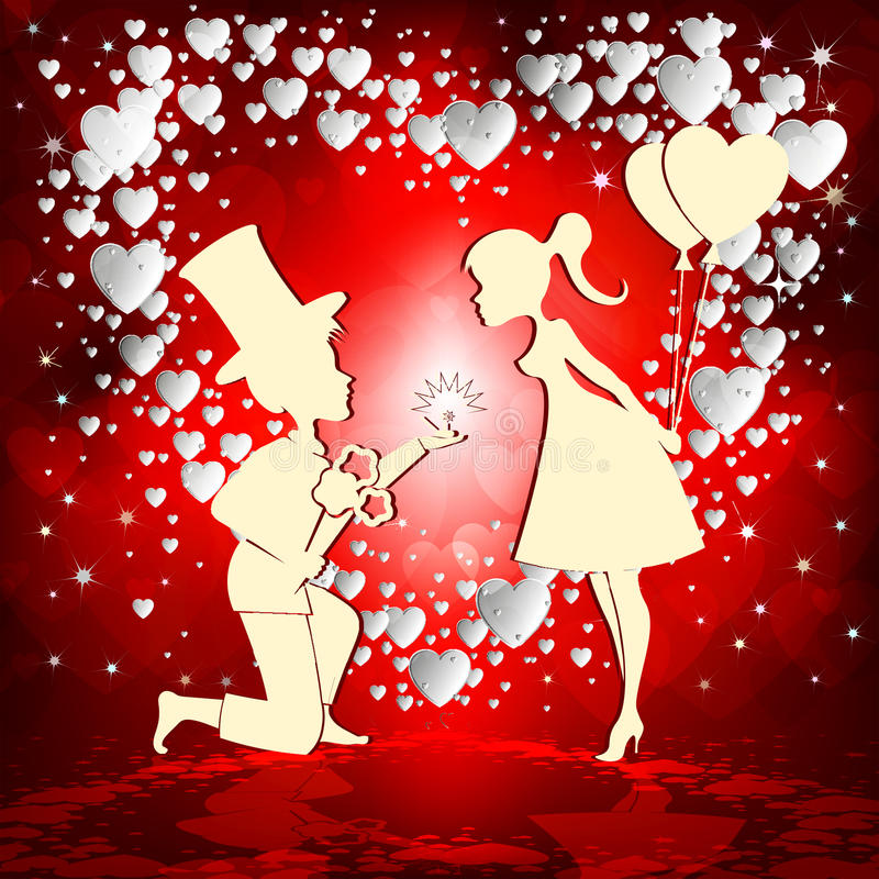 Download Love Couple On Red Background Stock Vector - Illustration ...