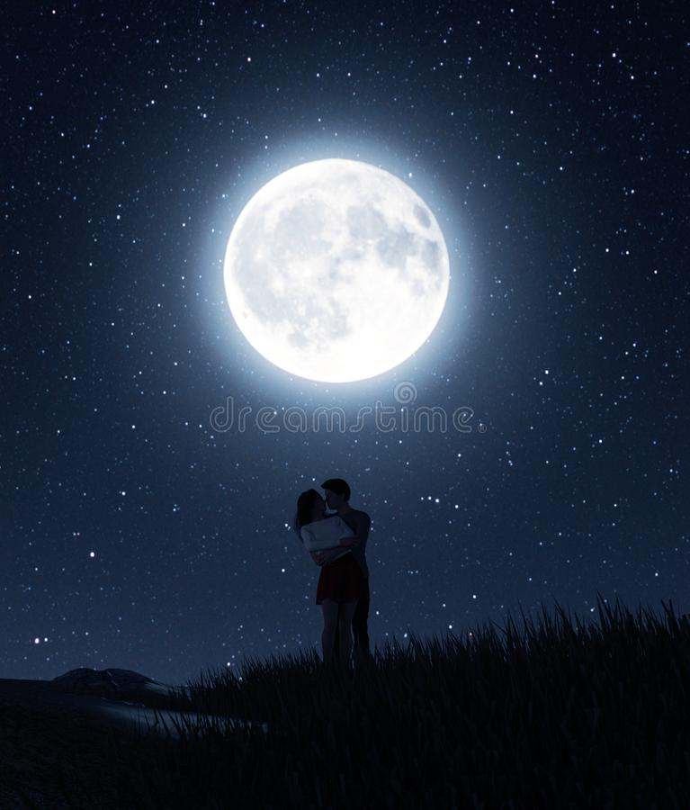 Download Moon and romantic couples stock vector. Illustration of ...