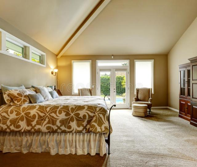 Download Luxury House Interior Bedroom With High Vaulted Ceiling And Wal Stock Image Image