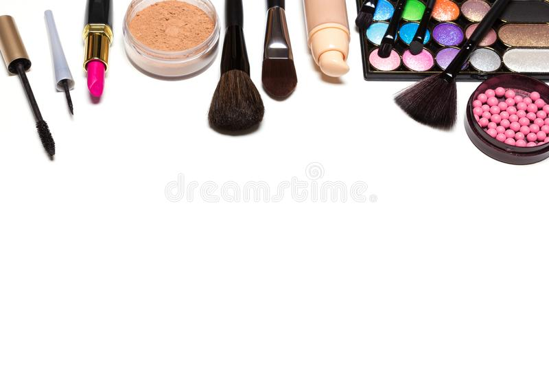 Makeup Cosmetics Background With Free Space For Text Stock Photo     Download Makeup Cosmetics Background With Free Space For Text Stock Photo    Image of blank