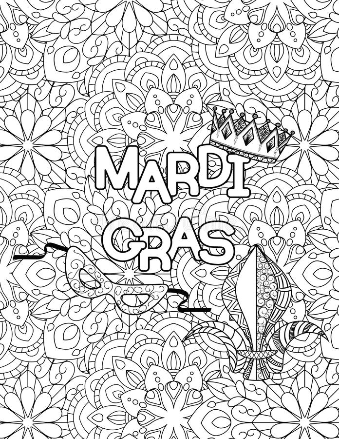 Mardi Gras Coloring Page Stock Vector Illustration Of Feathers 153950310