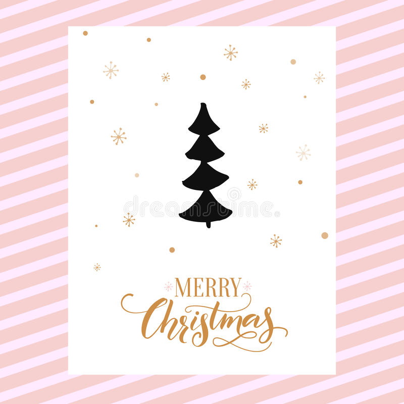 Merry Christmas Card Design With Calligraphy And Simple