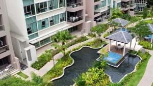 Modern Condominium Exterior Landscaping Stock Image