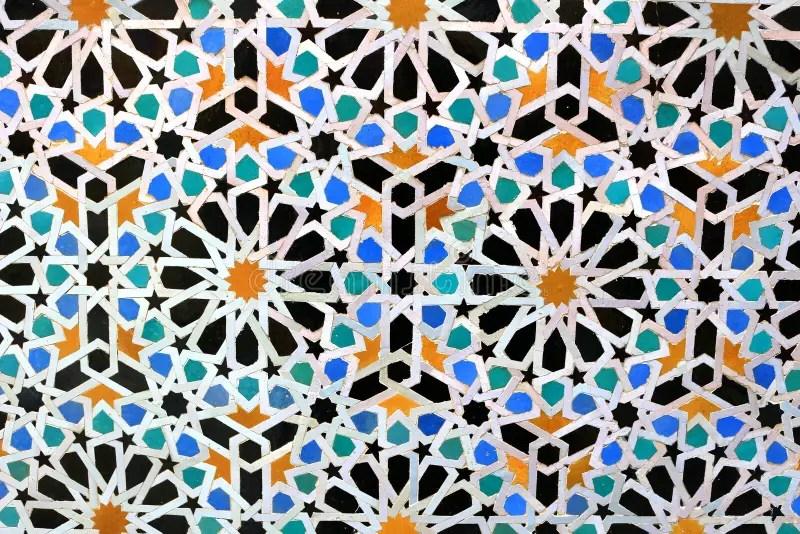moroccan mosaic tiles on wall stock