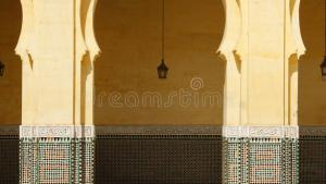 Morocco, Meknes, Islamic Arches And Patio Stock Image