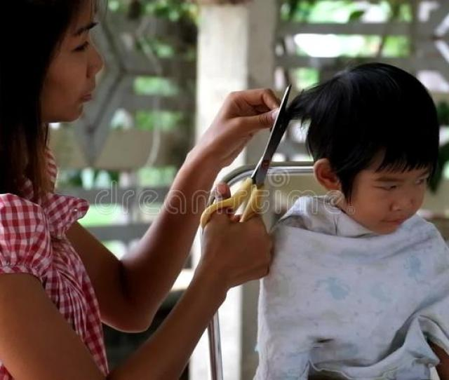 Mother Hair Dresses Her Boy Mom Hair Dresses Her Kid Son Son Annoy Mother Cut His Hair Stock Video Video Of Young Asian 57013733
