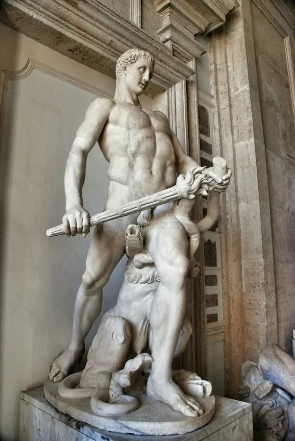 Statue Of Hercules Restored As Killing The Hydra Of Lerna Editorial Stock  Image - Image of building, artwork: 55104739