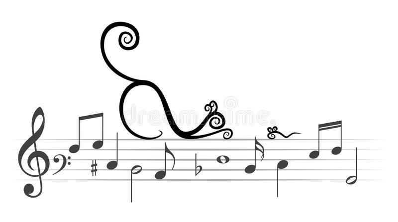 Download Musical Notes With Cat And Mouse. Stock Vector ...