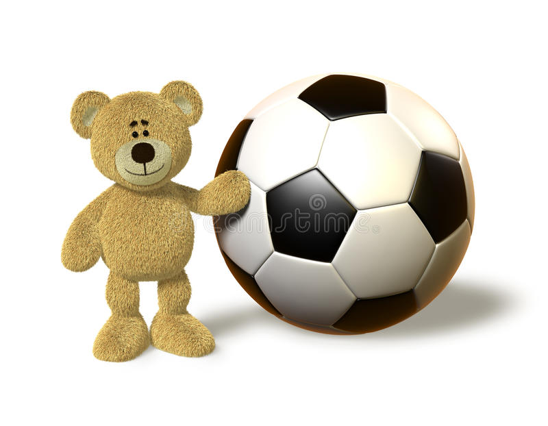 Nhi Bear Next To A Huge Soccer Ball Stock Illustration