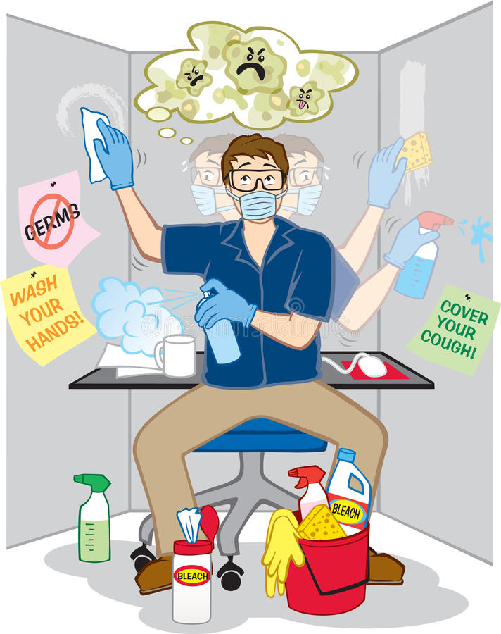 Obsessive Compulsive Fear Of Germs Stock Vector