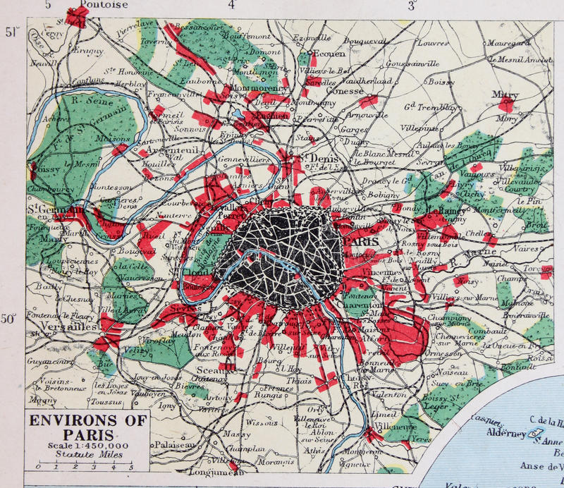 Old 1945 Map Of The Environs Of Paris  France  Stock Illustration     Download Old 1945 Map Of The Environs Of Paris  France  Stock Illustration    Illustration