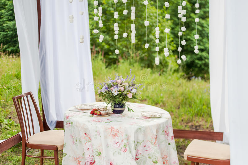 Outdoor Gazebo With White Curtains. Wedding Decorations
