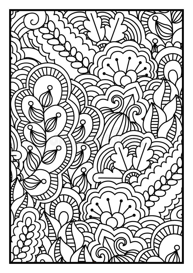 Pattern For Coloring Book Black And White Background With