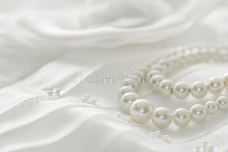 Pearl Necklace On Lace Background Stock Image Image Of