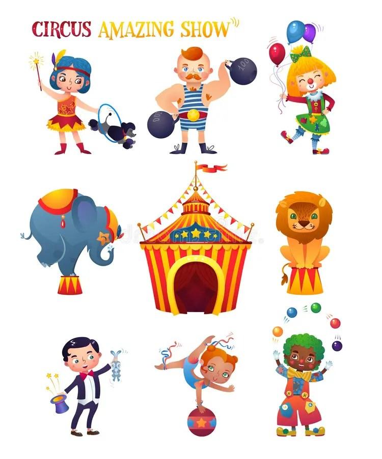 Personajes De Dibujos Animados Del Circo Ilustracin Del