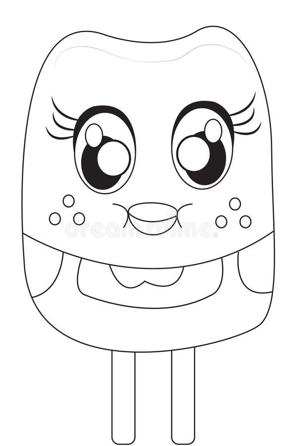 popsicle coloring page stock illustration. illustration of