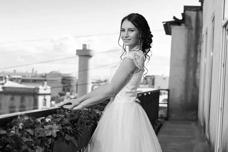 Pretty Bride In Fluffy Dress Stock Photo