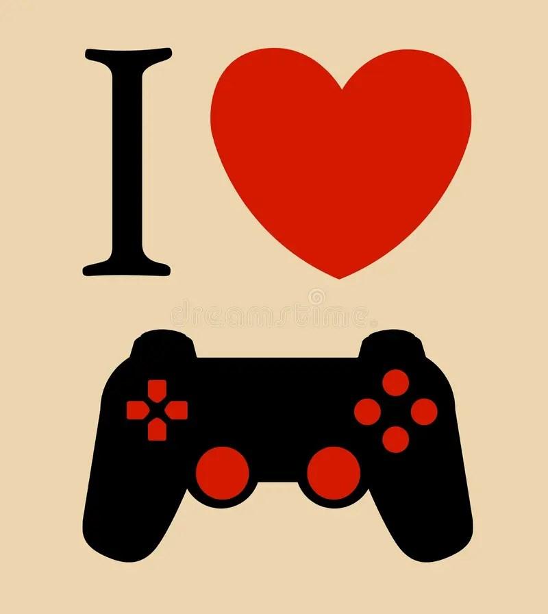 Download Print I Love Gaming Vector Illustration Background Royalty ...