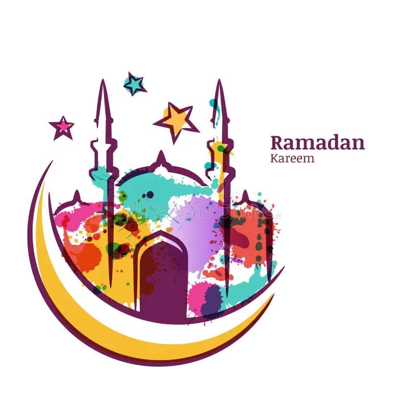 Ramadan Kareem Greeting Card With Watercolor Isolated