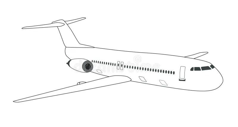 Schematisch Vliegtuig Vector Illustratie Afbeelding