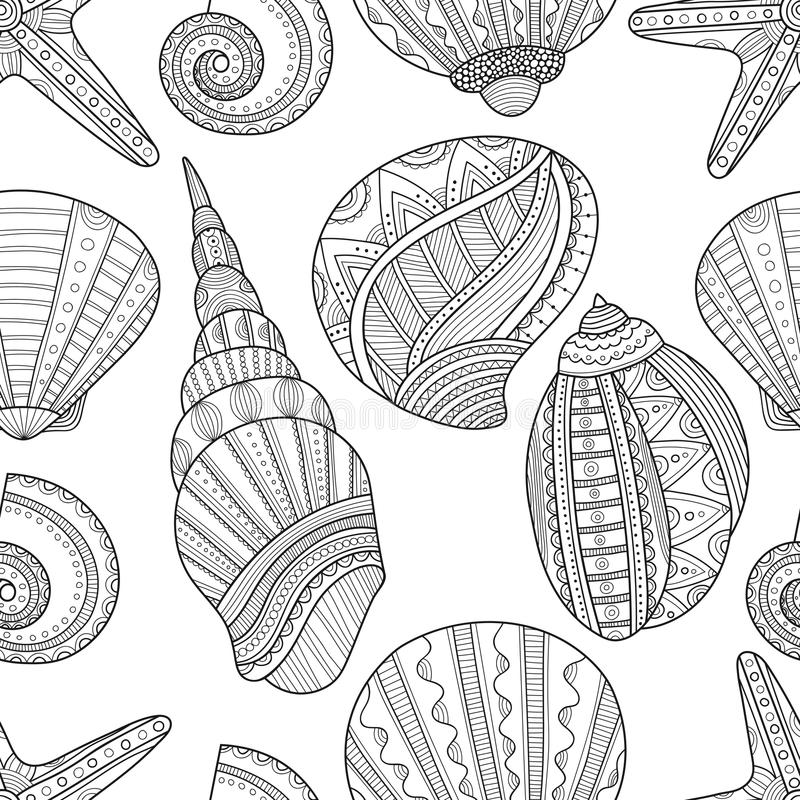 seamless black and white pattern of seashells to coloring