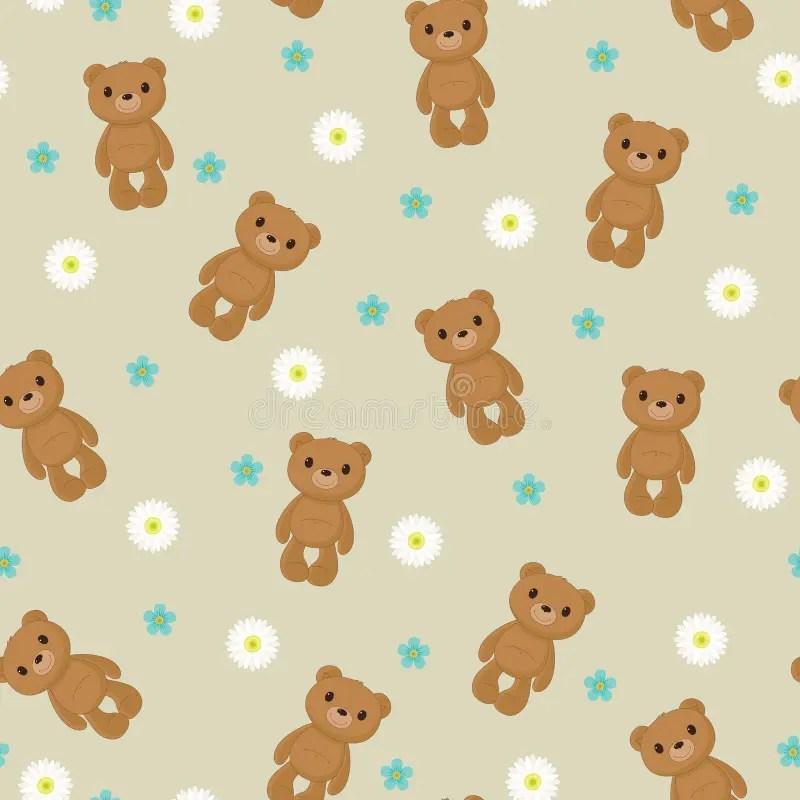 Cute teddy bear cartoon wallpaper gendiswallpaper seamless wallpaper with cute teddy bear stock vector ilration voltagebd Choice Image