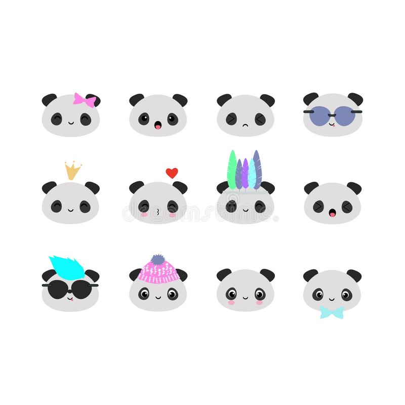 Set Of 12 Vector Panda Bears Heads With Funny Kawaii Faces Perfect For Scrapbooking Stock Vector Illustration Of Cool Emotions 116562697