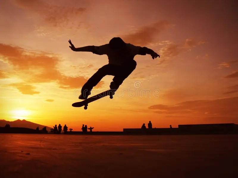Skateboarder Silhouette Stock Photo Image Of Danger