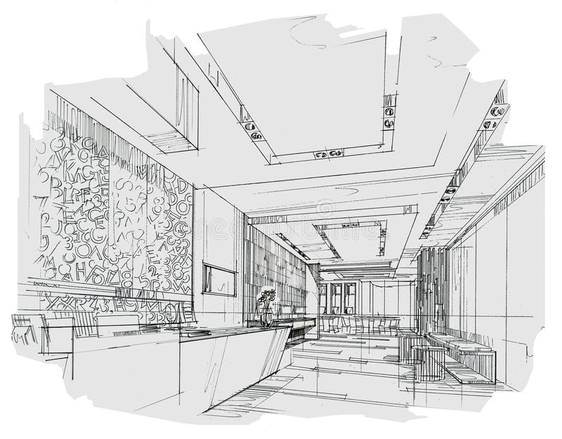 Sketch Interior Perspective Reception, Black And White
