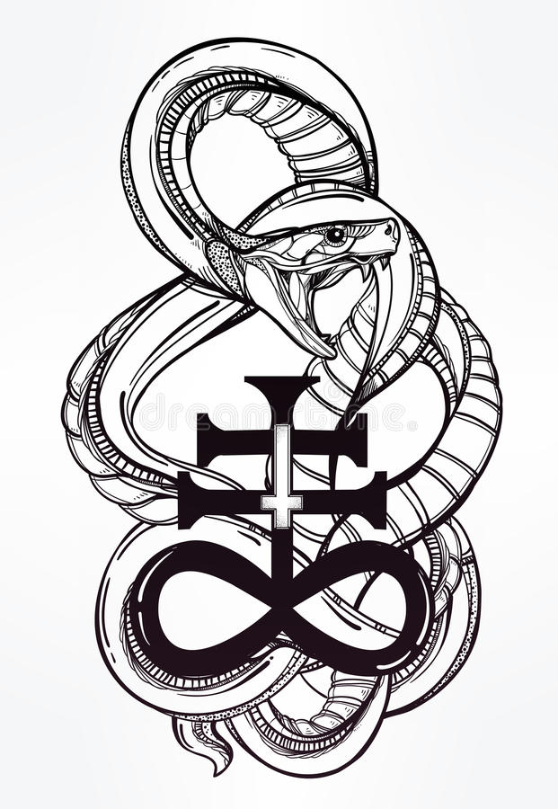 Cross And Snake Drawing
