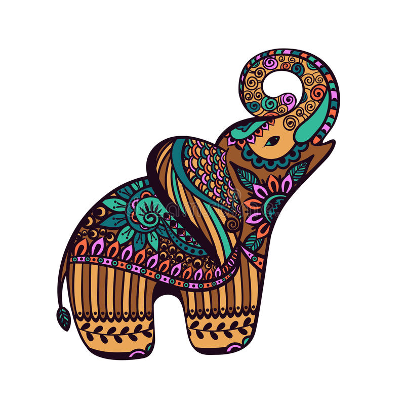 Stylized Elephant With Abstract Colorful Background