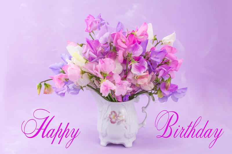 Happy Birthday Sweet Peas Multicolor Bunch Of Flowers Stock Photo Image Of Blooming Focus 191568502