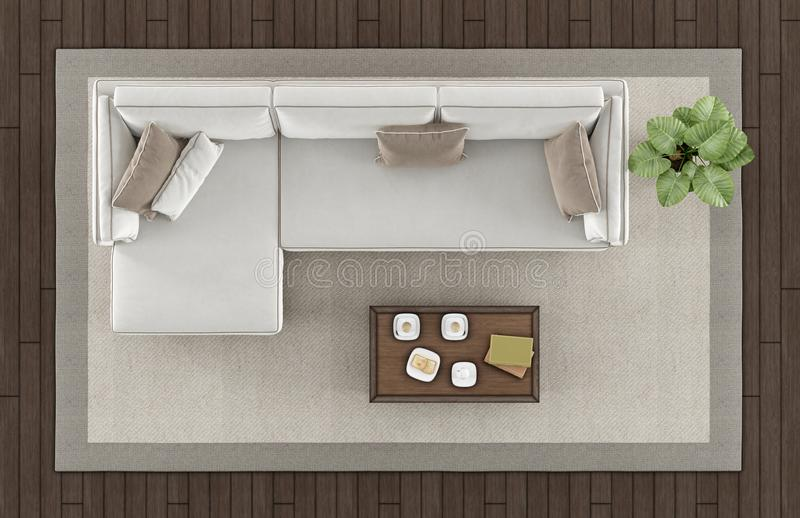 top view of a modern living room stock