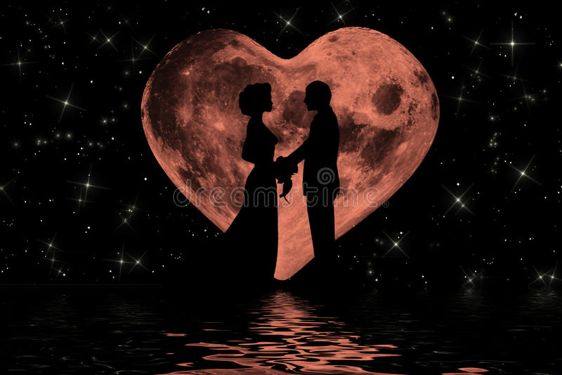 Download Valentine Romantic Atmosphere With Heart Shaped Moon Stock ...