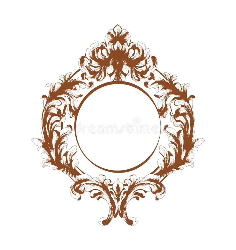 cadre baroque ovale dessin