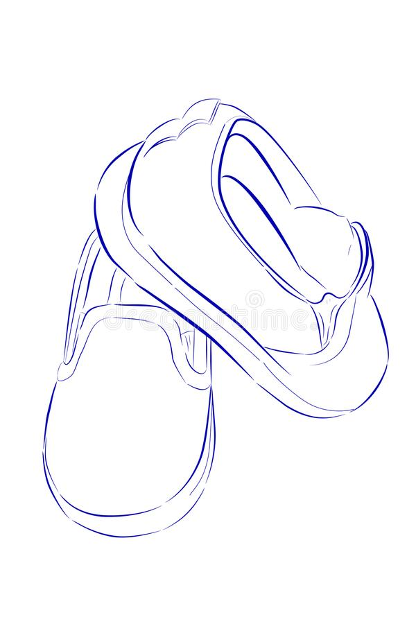 Doodle Blue Outline Of Toddler Shoes Isolated On White Stock