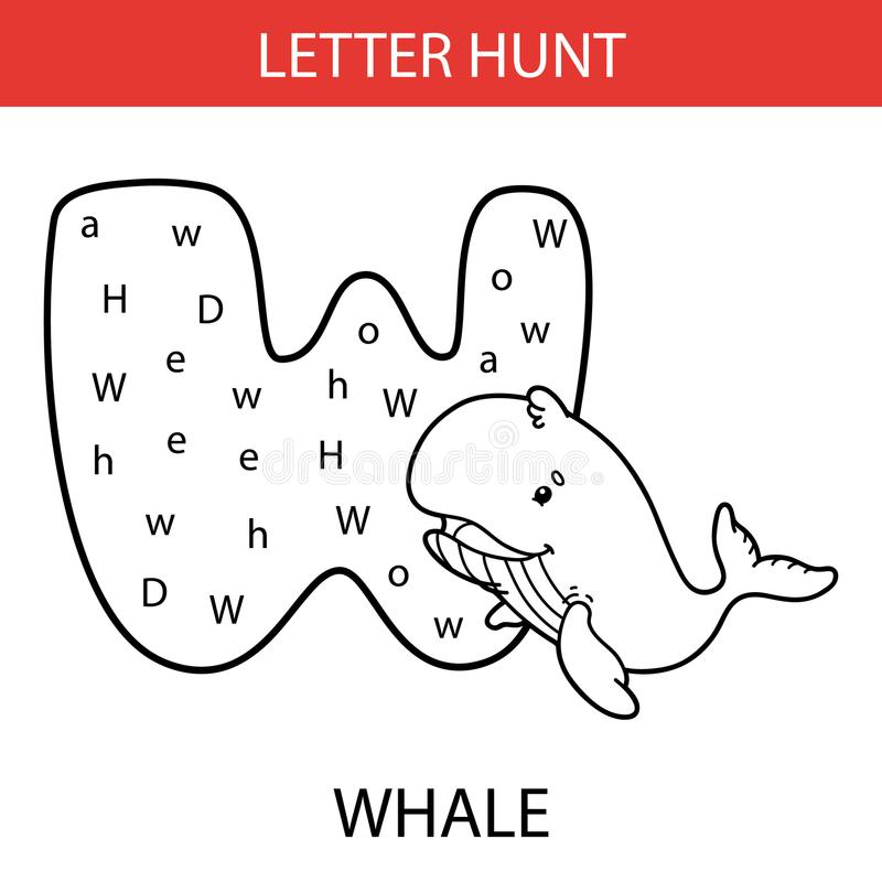 Animal Letter Hunt Whale Stock Vector Illustration Of