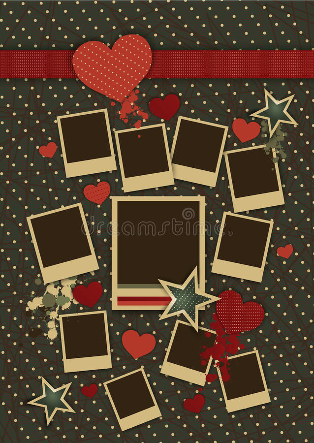 Vintage Collage Of Vector Photo Frames With Hearts Stock