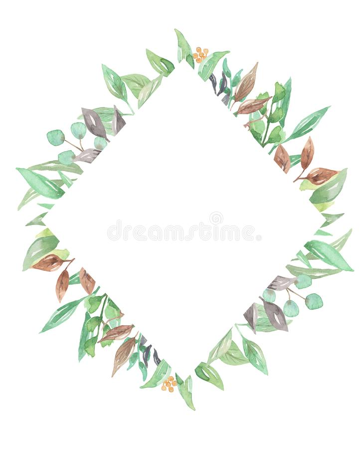 Watercolor Border Greenery Foliage Leaves Leaf Green Frame ...
