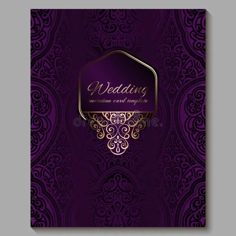 wedding invitation card with gold shiny