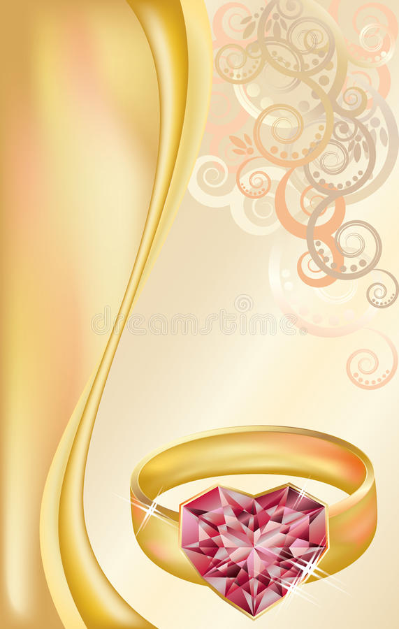 wedding invitation card with two golden