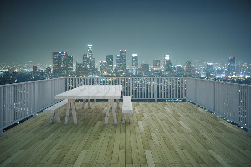 Wooden Balcony Night City View Stock Image Image Of