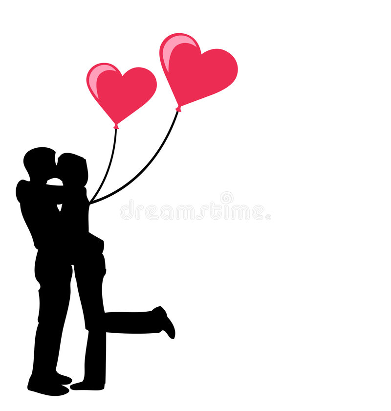 Download Young Couple In Love With Hearts Stock Vector ...