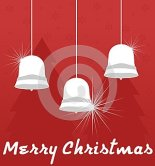 Christmas background with bells. Red and white. Christmas.