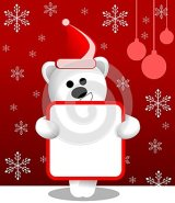 Cute white bear with Christmas dress