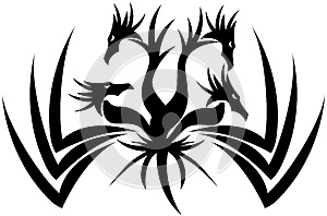 Stylized Four-headed Dragon tattoo isolated