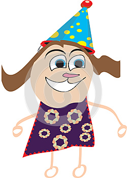 Illustration of a happy kid with a birthday hat/cap
