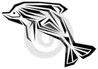 Dolphin tattoo in black and white isolated