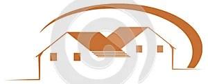 Logo with stylized houses isolated