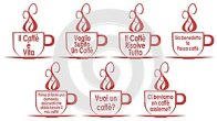 Set of coffee cups with sentences, isolated, in Italian